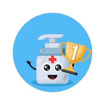 Trofeo personaje de mascota desinfectante de manos