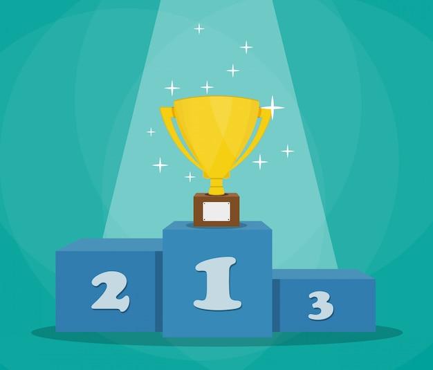 Trofeo en podio deportivo