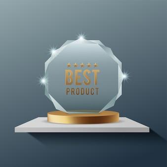 Trofeo de premio de vidrio o ilustración de vector realista de premio ganador