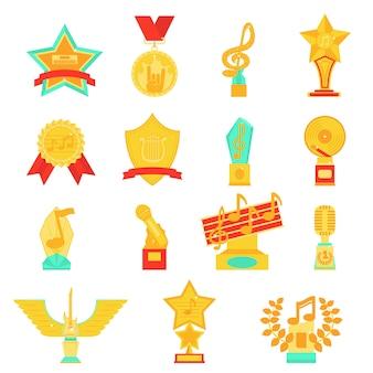 Trofeo premios iconos conjunto ilustración vectorial plana.