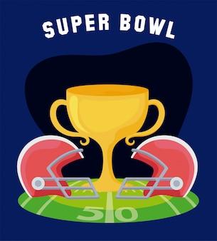 Trofeo super bowl y cascos sobre campo