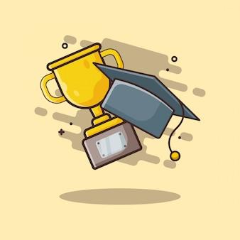 Trofeo y toga hat ilustración del icono. concepto de educación icono blanco aislado.