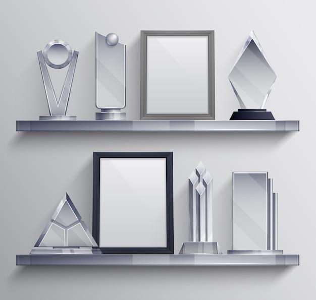 Trofeos estantes conjunto realista con símbolos de pedestal ganador de la competencia