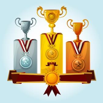 Trofeos en el podio