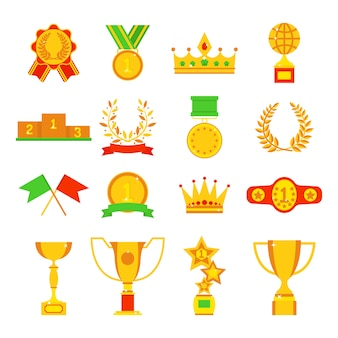 Trofeos y premios iconos conjunto ilustración plana.
