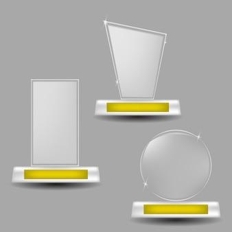 Trofeos de vidrio ganador recompensa de éxito