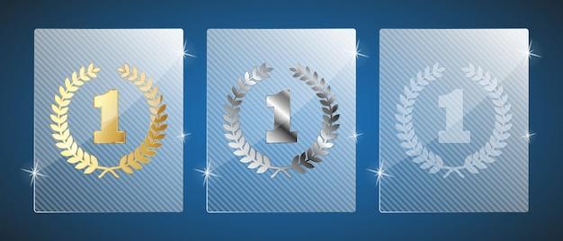 Trofeos de vidrio. ilustración. tres variantes