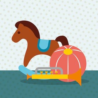 Trompeta de caballo mecedora y pelotas de plástico