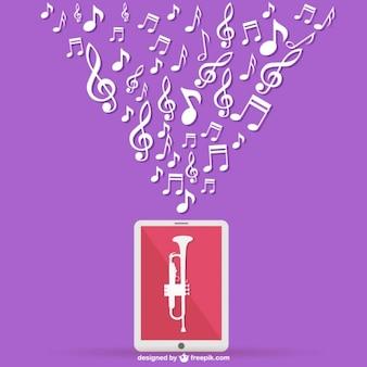 Trompeta y música en el móvil
