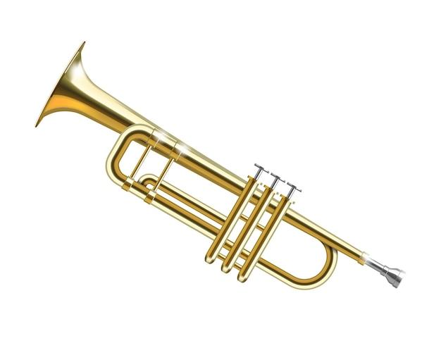 Trompeta de oro aislada