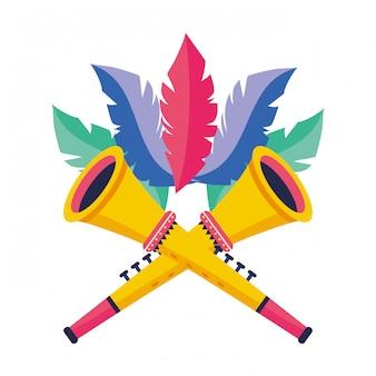 Trompetas con plumas ilustración vectorial