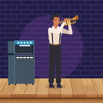 Trompetista de dibujos animados, banda de música jazz