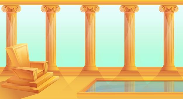 Trono de dibujos animados en estilo griego, ilustración vectorial