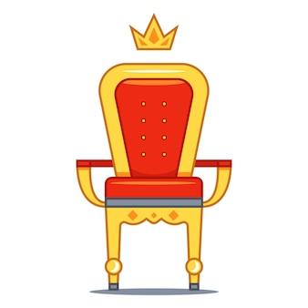 Trono real aislado con terciopelo rojo y oro. ilustración plana