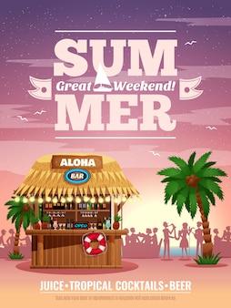Tropical beach resort bungalow bar cócteles refrescos cerveza anuncio publicitario con palmera siluetas de visitantes al atardecer