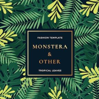 Tropical forest leaves abstract vector banner o plantilla de invitación.