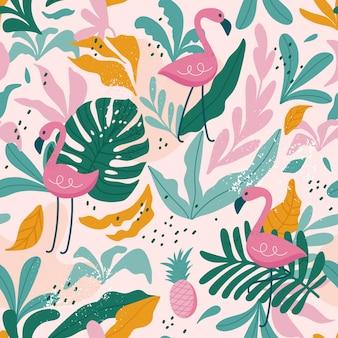 Tropical de patrones sin fisuras con flamencos, hojas exóticas.