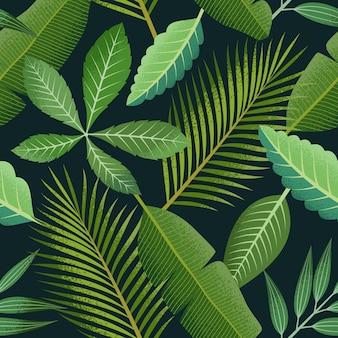 Tropical de patrones sin fisuras con hojas de palmera verde sobre fondo oscuro.