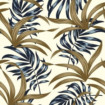 Tropical de patrones sin fisuras con plantas y hojas