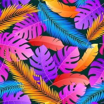 Tropical de patrones naturales sin fisuras de hojas exóticas.