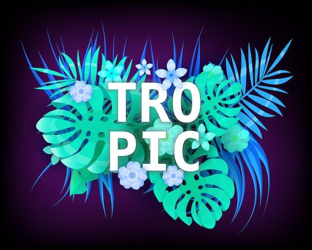 Trópico de verano neón de moda tropical deja plantas exóticas palma hoja de la selva.