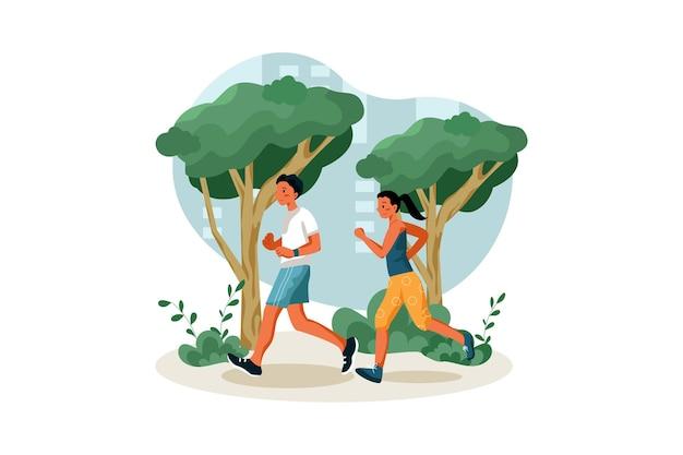 Trotar en el parque de la ciudad ilustración