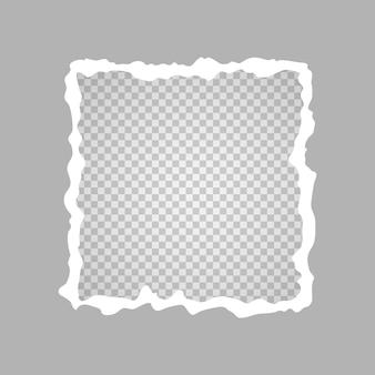 Trozo de papel rasgado en forma de cuadrado, un agujero en una hoja de papel sobre un fondo transparente. ilustración vectorial.
