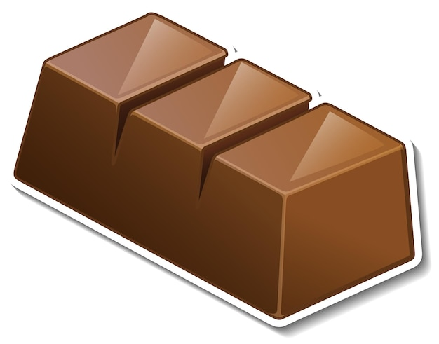Un trozo de pegatina de barra de chocolate aislado sobre fondo blanco.