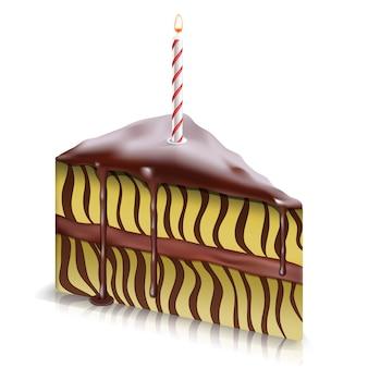Trozo de tarta con chocolate fluyendo hacia abajo y con vela