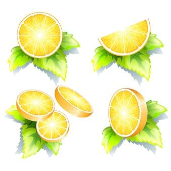 Trozos de naranja fresca