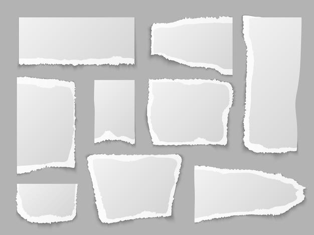 Trozos de papel rasgados, página de desecho granulada