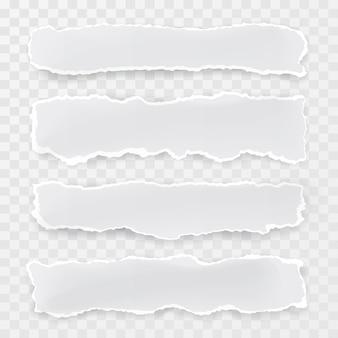 Trozos de papel rasgados sobre fondo transparente