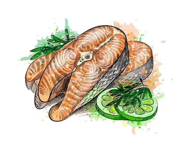 Trozos de pescado rojo y limón de un toque de acuarela, boceto dibujado a mano. ilustración de pinturas