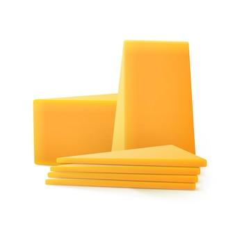Trozos triangulares de queso cheddar en rodajas