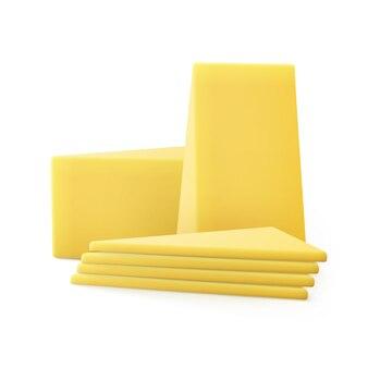 Trozos triangulares de queso en rodajas