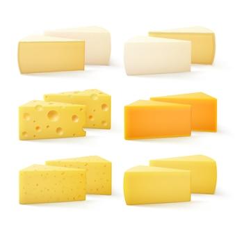 Trozos triangulares de queso tipo cheddar suizo bri parmesano camembert