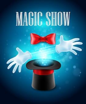 Truco de magia, rendimiento, circo, concepto de espectáculo. ilustración