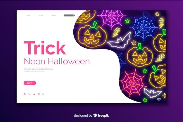 Truco neon halloween página de inicio