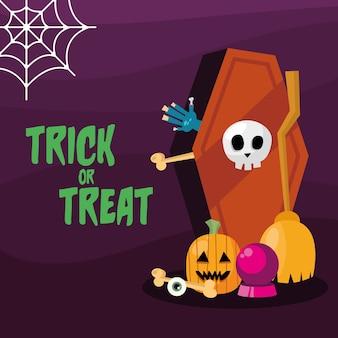 Truco o trato con ataúd y diseño de calabaza, tema de miedo de halloween