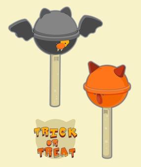 Truco o trato caramelos de lolipop de divertidos dibujos animados de sweet halloween