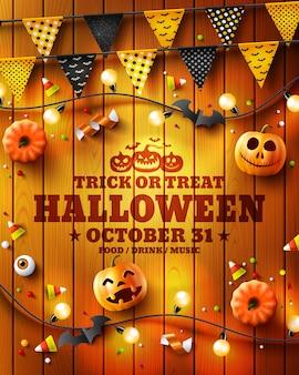 Truco o trato cartel, folleto o invitación de la fiesta de halloween