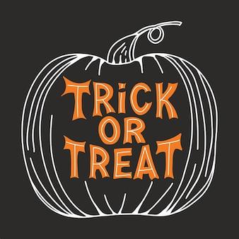 Truco o trato. cita tradicional de halloween. letras naranjas en dibujo de calabaza sobre fondo gris oscuro.