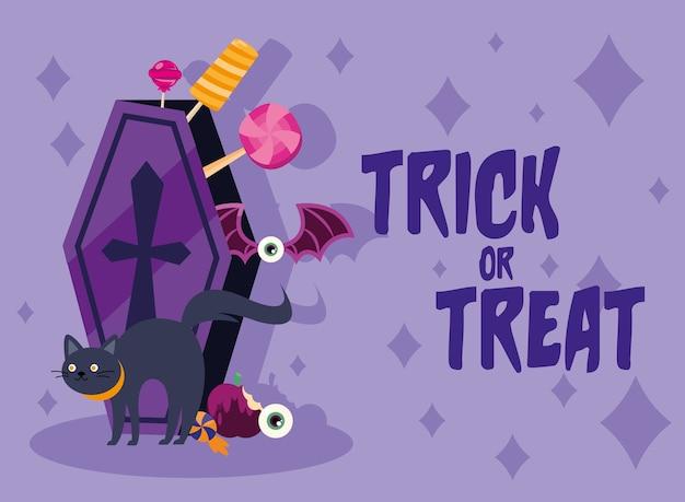 Truco o trato dulces dentro de ataúd y diseño de gato, tema de miedo de halloween