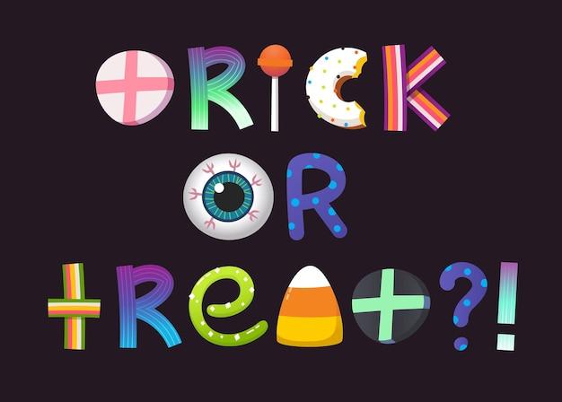 Truco o trato de dulces de halloween letras en forma de iconos vectoriales