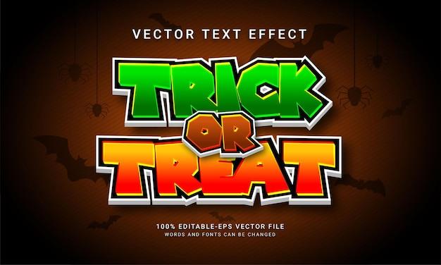 Truco o trato efecto de estilo de texto editable con tema de evento de halloween