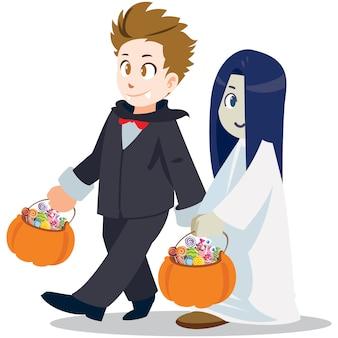 Truco o trato . estilo de dibujos animados de halloween