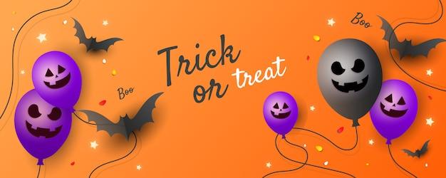 Truco o trato de halloween, invitación de fiesta con globos de miedo, un murciélago y estrellas
