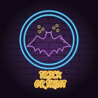 Truco o trato de luz de neón de murciélago volando con estrellas, diseño de ilustraciones vectoriales