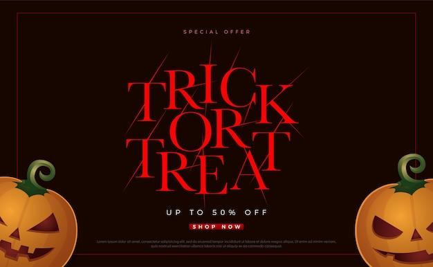 Truco o trato oferta especial venta de halloween.