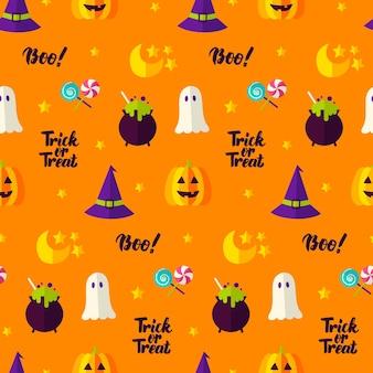Truco o trato de patrones sin fisuras. ilustración de vector de fondo de vacaciones. feliz halloween.